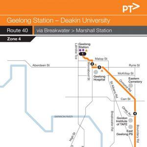 Route 40 Geelong To Deakin Via Breakwater - Mcharrys Buslines on route 22 map, route 17 map, route 33 map, route 2 map, route 12 map, route 5 map, route 18 map, route 101 map, route 6 map, route 1 map, route 23 map, route 70 map, route 30 map, route 91 map, route 53 map, route 20 map, route 202 map, route 50 map, route 60 map, route 90 map,