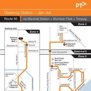 Route 50 Geelong To Jan Juc Via Wombah Park - Mcharrys Buslines